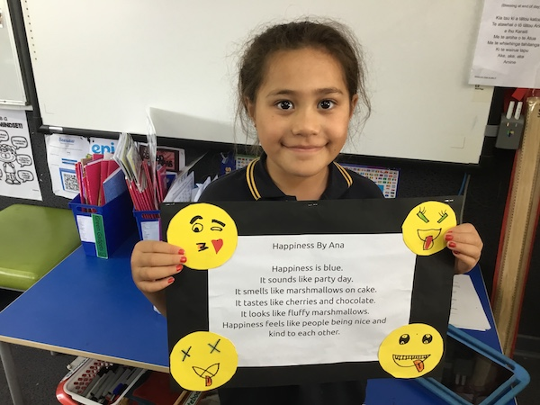 Ana made some very happy looking emojis for her poem