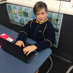 Daniel enjoyed publishing his Hello Gooodbye poem on his new Chromebook