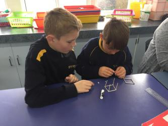 1 Bailey and Ty beginning to construct their cube