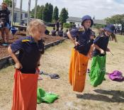Athletic day Having a bit of fun while we wait Te Mihi Sack races 06
